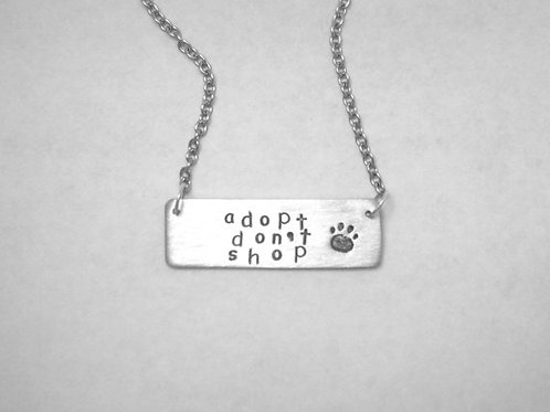 Adopt Don't Shop Rectangle Necklace