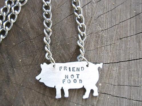Men's Friend not Food Pig Necklace