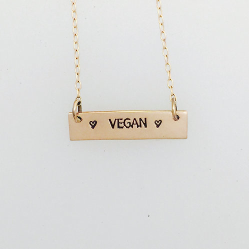 Vegan 14Kt Rose Gold-Filled Bar Necklace