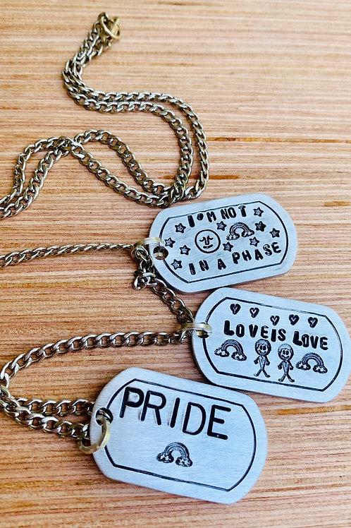 Unisex Pride Dog Tag Necklaces