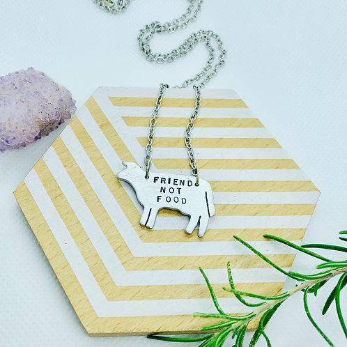 Friend not Food Cow Necklace