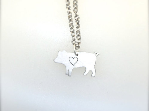 New Mini Pig w/ heart Necklace