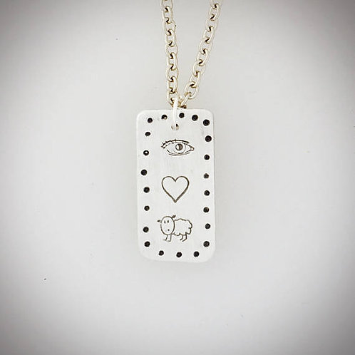 Eye Heart Ewe Tag Necklace
