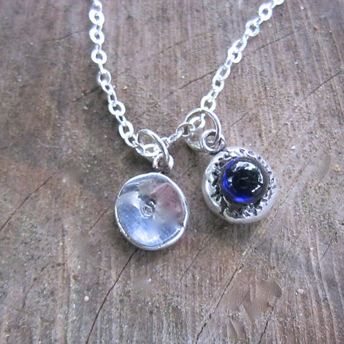 Initial Charm Necklace with Lab Created Blue Sapphire