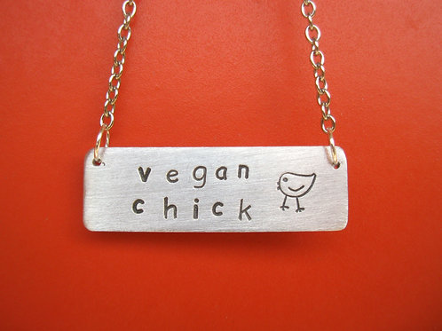 Vegan Chick Rectangle Tag Necklace