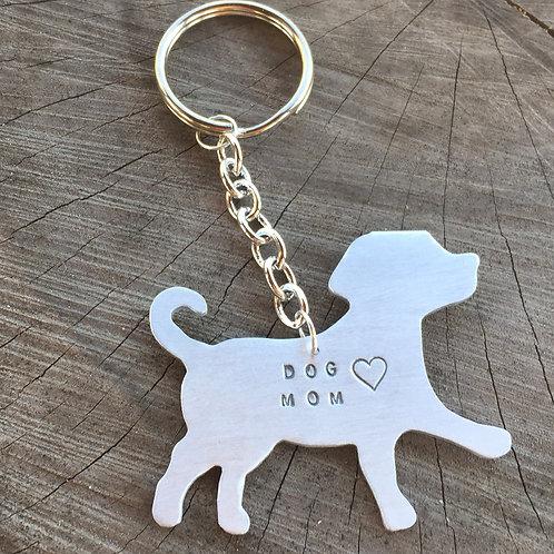 Dog Mom w/ heart Keychain