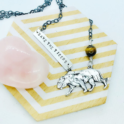 Save the Tigers with Tiger Eye Tiger Necklace