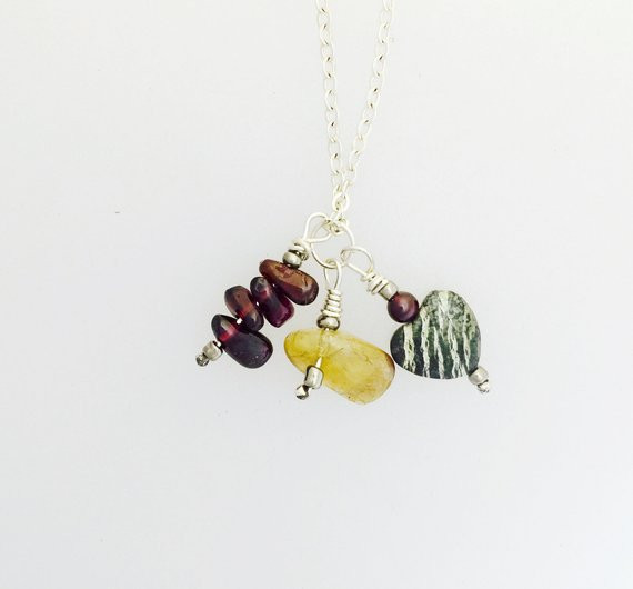 Zebra Dolomite, Garnet, Citrine Necklace