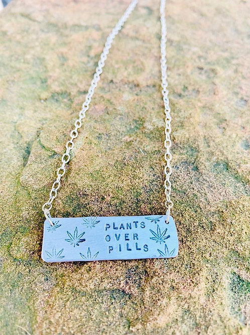 Plants over Pills Cannabis Necklace