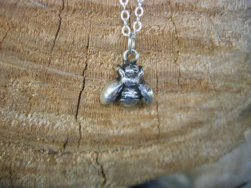 Happy Bee Metal Clay Necklace