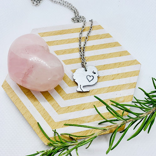 Mini Chick with Heart Necklace