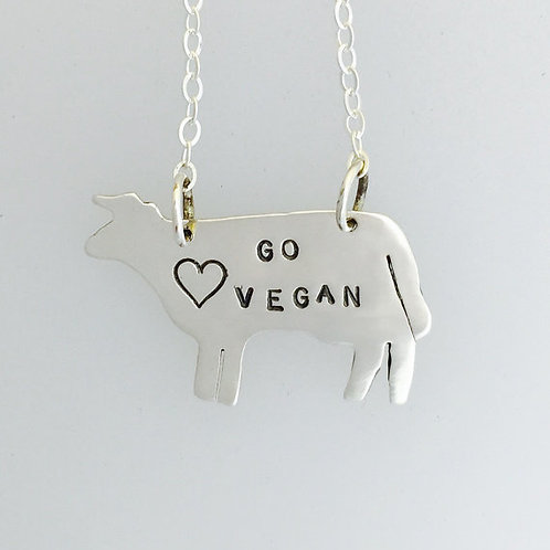 Go Vegan Cow Necklace in Recycled Sterling Silver