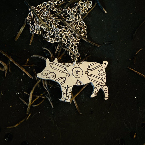 Crystal Moon Pig Necklace