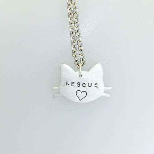 Rescue Cat w/ heart Head Necklace