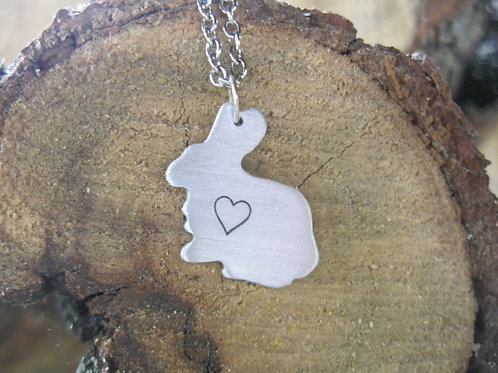 Mini Bunny with heart necklace