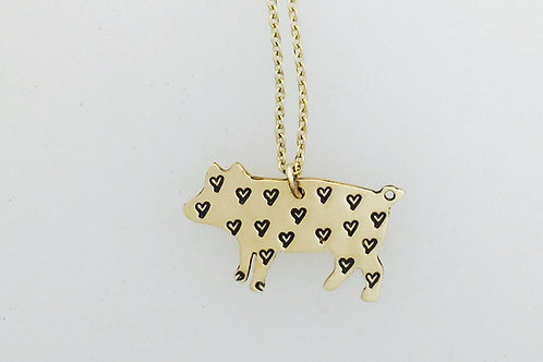 Mini Pig Love Yellow 14Kt Gold-Filled Necklace