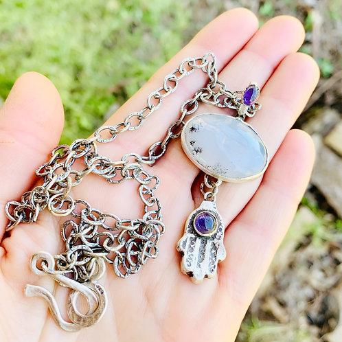 Hamsa Agate and Amethyst Prayer Necklace