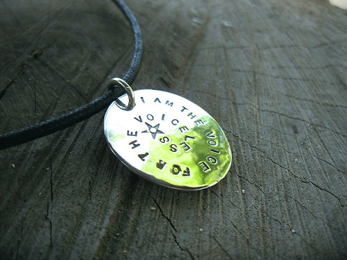 "Men's/Unisex ""I am the Voice for the Voiceless"" in recycled sterling w/cord"