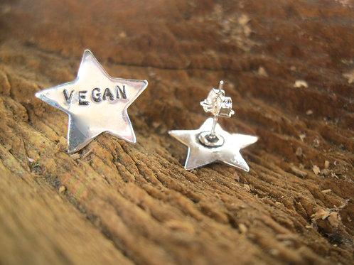 Vegan Star Earring in recycled sterling silver