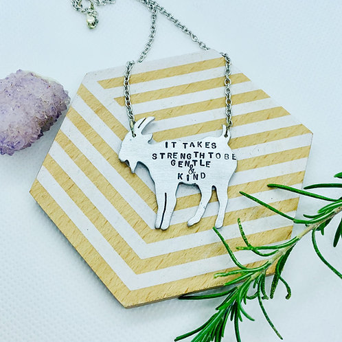 Strength to Be Gentle and Kind Goat Necklace