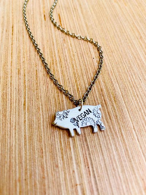Sunflower Vegan Pig Necklace