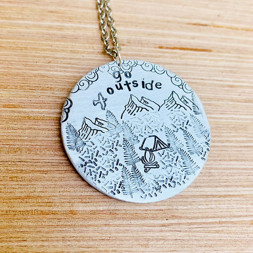 Go Outside Camping Necklace