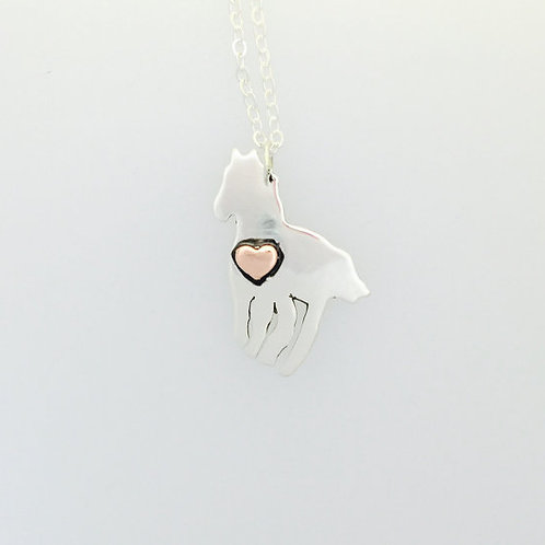 Horse w/copper heart in recycled sterling silver