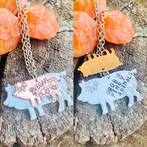 Vegan for the Animals Pig Necklace