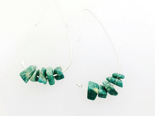 Amazonite Minimalist Wire Earrings