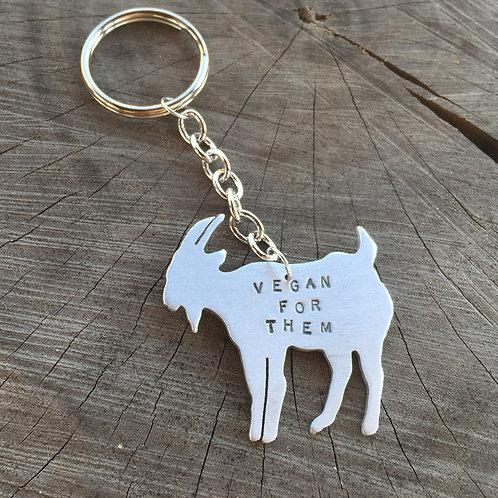 Vegan For Them Goat Keychain