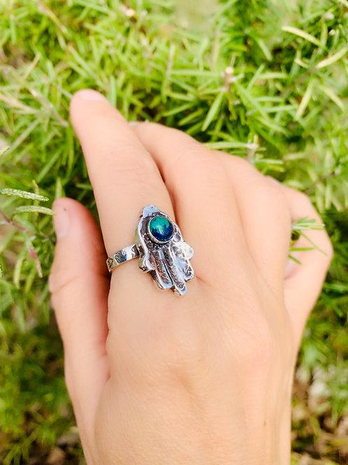 Hamsa Hand with Azurite Malachite Ring