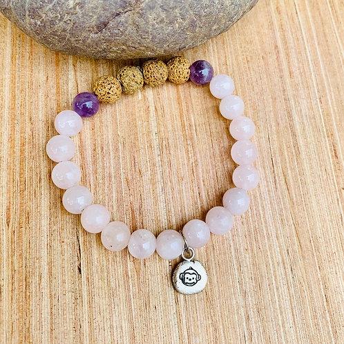 Aromatherapy Rose Quartz, Amethyst Monkey Charm Bracelet
