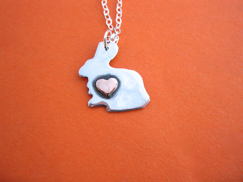 Mini Rabbit w/ copper Heart Necklace in recycled sterling silver
