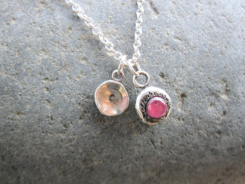 Initial Charm Necklace with Lab-Created Pink Sapphire