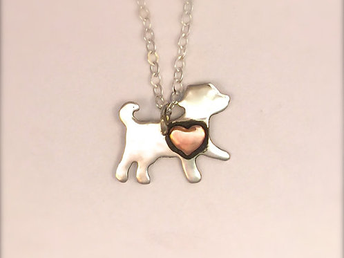Mini Dog w/ copper Heart necklace in recycled sterling silver