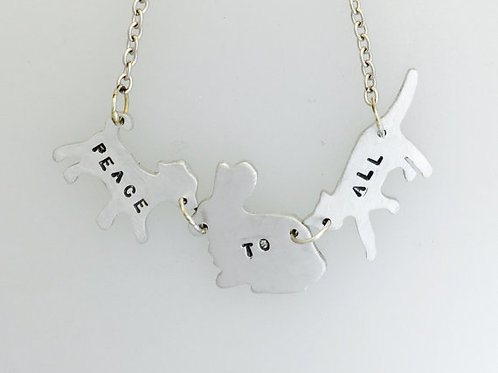 Peace to All Dog,Rabbit,Cat Necklace