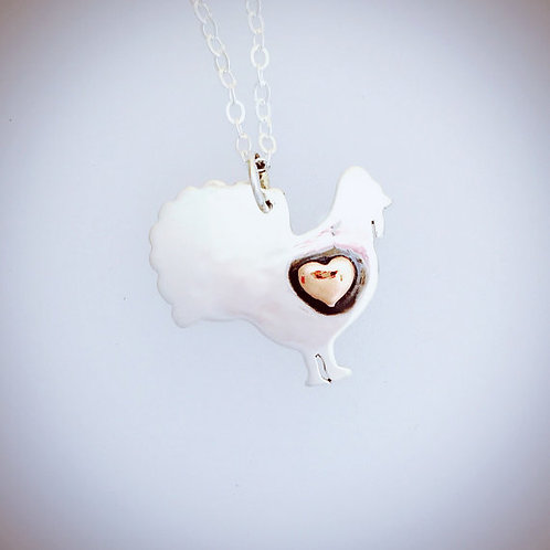 Turkey with Copper Heart in Recycled Sterling Silver