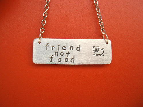 Friend not Food Pig Rectangle Tag Necklace