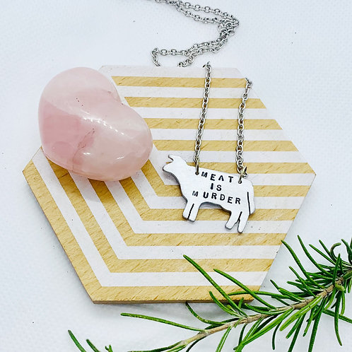 Meat is Murder Cow Necklace
