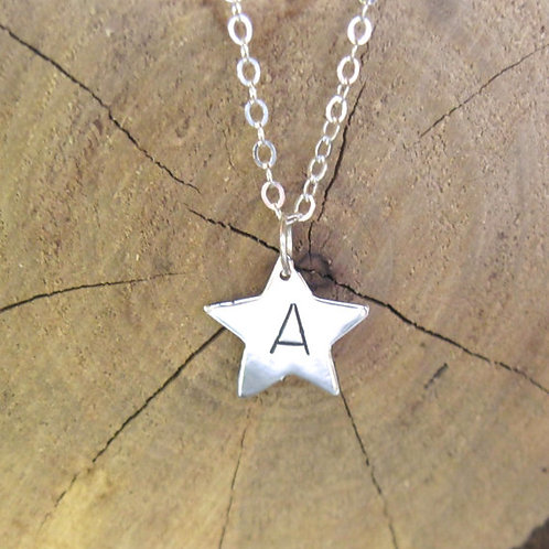 You are a Star Initial Necklace in recycled sterling silver