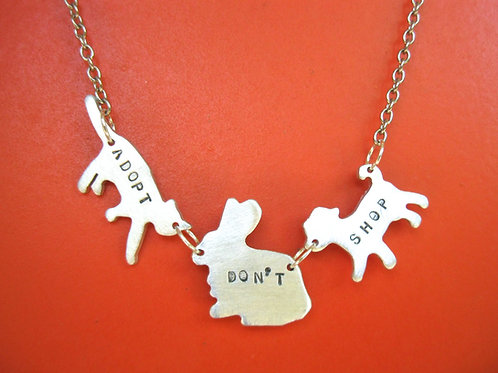Adopt Don't Shop-Cat, Rabbit, Dog Necklace in Recycled Sterling Silver