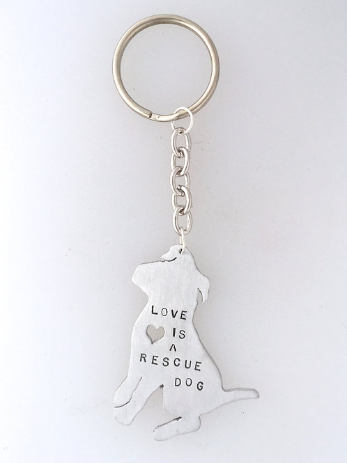 Love is a Rescue Dog Keychain