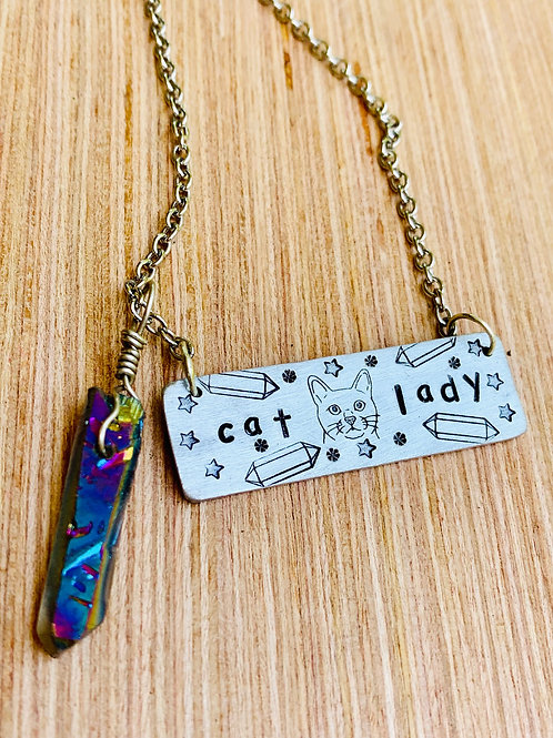Crystal Cat Lady Rectangle Necklace