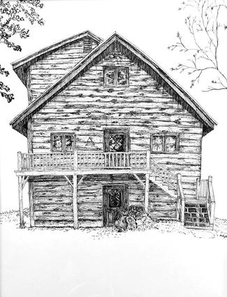 "House Illustration 9""x12"""