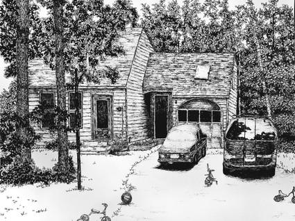 "House Ilustration  9""x12"""