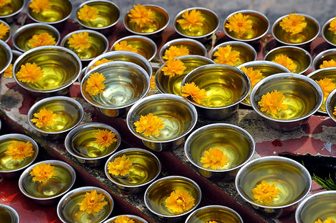 Buddhists Flower Bowl Offering, Bouddhan