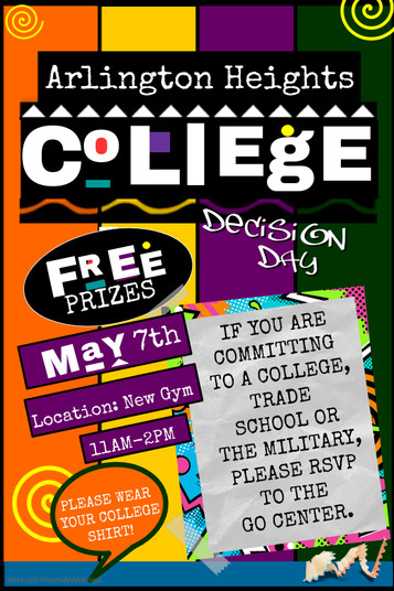 Attention, Seniors!!! Join us for College Decision Day, Friday, May 7th 11AM-2PM!
