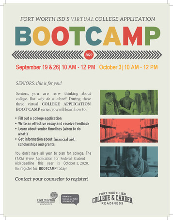Register now for the COLLEGE APPLICATION BOOT CAMP series!