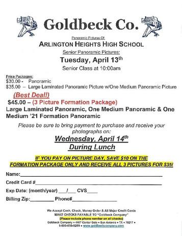 Senior Panoramic Photos 10AM, Tuesday, April 13th!