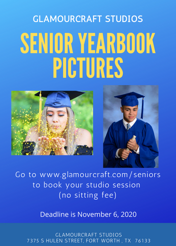 It's time to take your senior yearbook pictures! The deadline is November 6th!